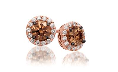 14K Strawberry Gold® Earrings with Chocolate Diamonds® 1  1/5 cts., Vanilla Diamonds® 1/3 cts. | WJBO 7