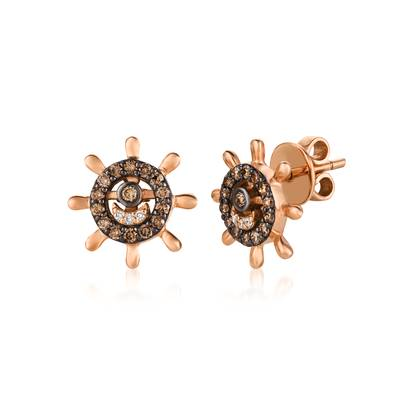 14K Strawberry Gold® Earrings with Chocolate Diamonds® 3/8 cts., Vanilla Diamonds®  cts. | WJBO 72