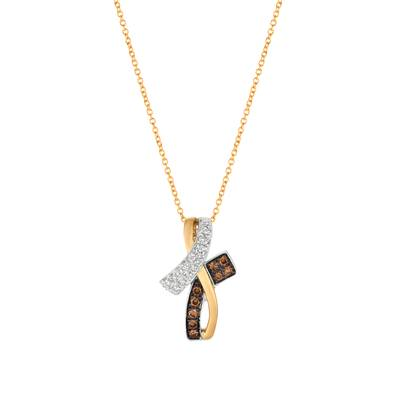 14K Two Tone Gold Pendant with Vanilla Diamonds® 1/4 cts., Chocolate Diamonds® 1/5 cts. | WJBO 74
