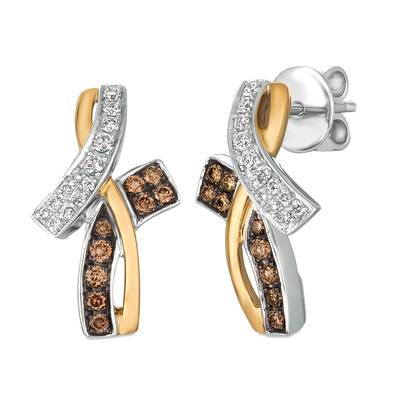 14K Two Tone Gold Earrings with Chocolate Diamonds® 1/4 cts., Vanilla Diamonds® 1/5 cts. | WJBO 75