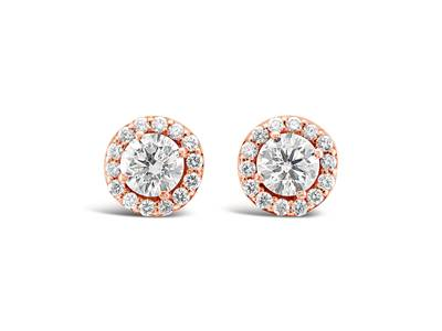 14K Strawberry Gold® Earrings with Vanilla Diamonds® 1  1/2 cts. | WJBO 7WH