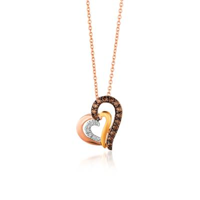 14K Tri Color Gold Pendant with Chocolate Diamonds® 1/5 cts., Vanilla Diamonds®  cts. | WJBY 3