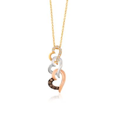 14K Tri Color Gold Pendant with Chocolate Diamonds® 1/15 cts., Vanilla Diamonds® 1/20 cts. | WJBY 4
