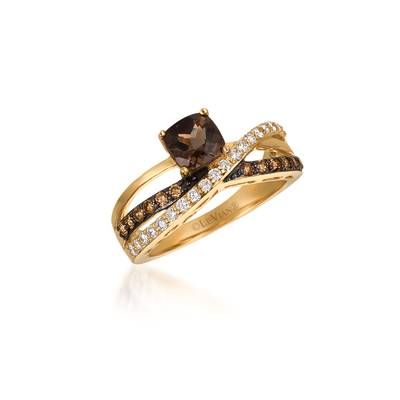 14K Honey Gold™ Chocolate Quartz® 3/4 cts. Ring with Chocolate Diamonds® 1/4 cts., Vanilla Diamonds® 1/4 cts. | WJCA 31