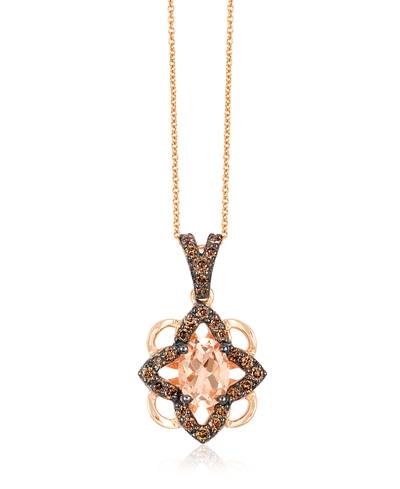 14K Strawberry Gold® Peach Morganite™ 1/2 cts. Pendant with Chocolate Diamonds® 1/3 cts. | WJCC 26