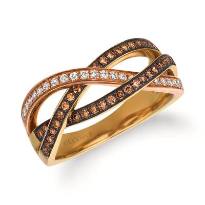 14K Strawberry Gold® Ring with Chocolate Diamonds® 1/3 cts., Vanilla Diamonds® 1/6 cts. | WJCE 8