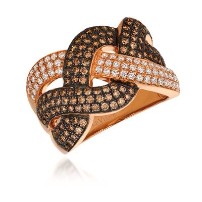 14K Strawberry Gold® Ring with Chocolate Diamonds® 1 cts., Vanilla Diamonds® 3/8 cts. | WJCF 119