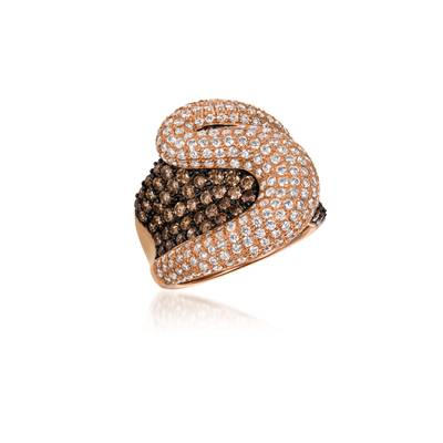 14K Strawberry Gold® Ring with Chocolate Diamonds® 1  5/8 cts., Vanilla Diamonds® 2 cts. | WJCF 26