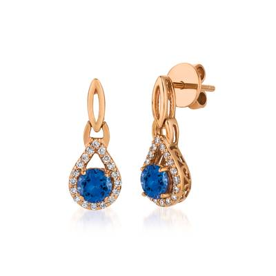 14K Strawberry Gold® Blueberry Tanzanite® 1 cts. Earrings with Vanilla Diamonds® 1/4 cts. | WJCG 10