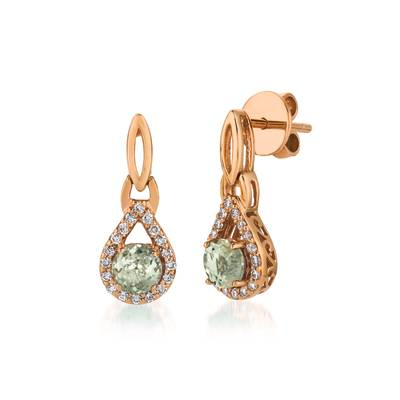 14K Strawberry Gold® Mint Julep Quartz™ 3/4 cts. Earrings with Vanilla Diamonds® 1/4 cts. | WJCG 10GM