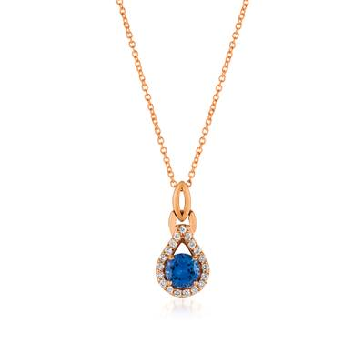 14K Strawberry Gold® Blueberry Tanzanite® 5/8 cts. Pendant with Vanilla Diamonds® 1/6 cts. | WJCG 11