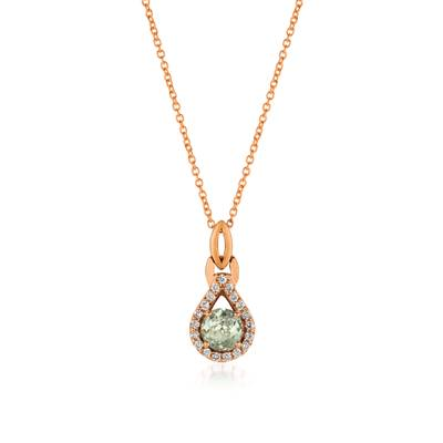 14K Strawberry Gold® Mint Julep Quartz™ 1/2 cts. Pendant with Vanilla Diamonds® 1/6 cts. | WJCG 11GM