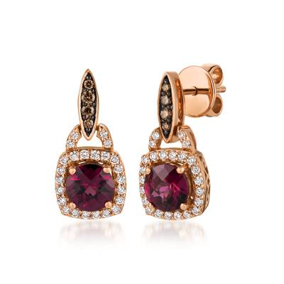 14K Strawberry Gold® Raspberry Rhodolite® 1  5/8 cts. Earrings with Chocolate Diamonds® 1/10 cts., Vanilla Diamonds® 1/3 cts. | WJCG 17