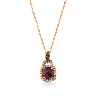 14K Strawberry Gold® Raspberry Rhodolite® 1  1/5 cts. Pendant with Chocolate Diamonds® 1/20 cts., Vanilla Diamonds® 1/5 cts. | WJCG 18