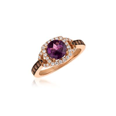 14K Strawberry Gold® Raspberry Rhodolite® 1  1/5 cts. Ring with Chocolate Diamonds® 1/5 cts., Vanilla Diamonds® 1/4 cts. | WJCG 19