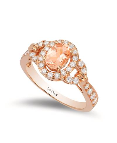14K Strawberry Gold® Peach Morganite™ 1/2 cts. Ring with Vanilla Diamonds® 1/2 cts. | WJCI 1