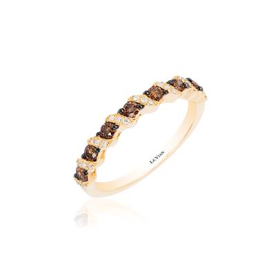 14K Honey Gold™ Ring with Chocolate Diamonds® 1/4 cts., Vanilla Diamonds® 1/20 cts. | WJCI 10