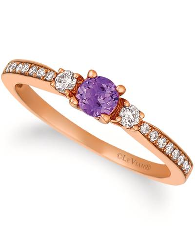 14K Strawberry Gold® Grape Amethyst™ 1/6 cts. Ring with Vanilla Diamonds® 1/6 cts. | WJCS 33