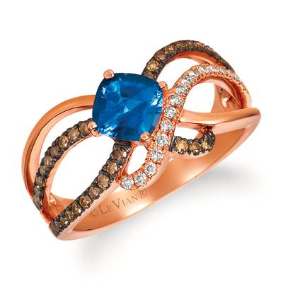 14K Strawberry Gold® Cornflower Ceylon Sapphire™ 1  1/8 cts. Ring with Chocolate Diamonds® 1/4 cts., Vanilla Diamonds® 1/10 cts. | WJCS 40CY-07