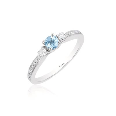14K Vanilla Gold® Sea Blue Aquamarine® 1/4 cts. Ring with Vanilla Diamonds® 1/6 cts. | WJCS 6