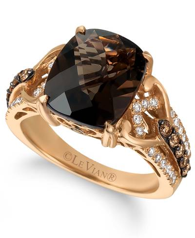 14K Strawberry Gold® Chocolate Quartz® 4  1/2 cts. Ring with Chocolate Diamonds® 1/3 cts., Vanilla Diamonds® 1/4 cts. | WJCT 75