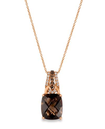 14K Strawberry Gold® Chocolate Quartz® 4  1/2 cts. Pendant with Chocolate Diamonds® 1/10 cts., Vanilla Diamonds® 1/15 cts. | WJCT 76