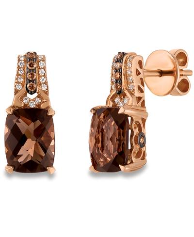 14K Strawberry Gold® Chocolate Quartz® 3  1/2 cts. Earrings with Chocolate Diamonds® 1/10 cts., Vanilla Diamonds® 1/15 cts. | WJCT 77