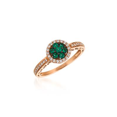 14K Strawberry Gold® Costa Smeralda Emeralds™ 1/6 cts. Ring with Vanilla Diamonds® 1/5 cts. | WJDA 57