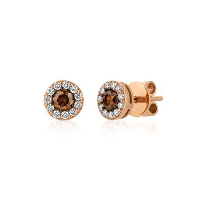 14K Strawberry Gold® Earrings with Chocolate Diamonds® 1/2 cts., Vanilla Diamonds® 1/4 cts. | WJDC 2