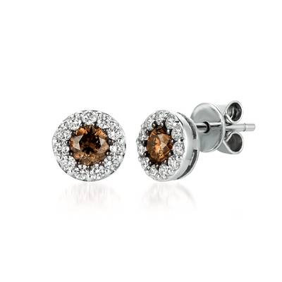 14K Vanilla Gold® Earrings with Chocolate Diamonds® 5/8 cts., Vanilla Diamonds® 3/8 cts. | WJDC 3