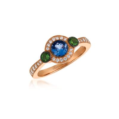 14K Strawberry Gold® Blueberry Tanzanite® 3/8 cts., Pistachio Diopside® 1/6 cts. Ring with Vanilla Diamonds® 1/4 cts. | WJDE 12