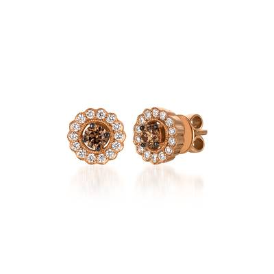 14K Strawberry Gold® Earrings with Chocolate Diamonds® 1/2 cts., Vanilla Diamonds® 3/8 cts. | WJDL 18