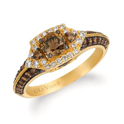14K Honey Gold™ Ring with Chocolate Diamonds® 7/8 cts., Vanilla Diamonds® 1/5 cts. | WJDR 21