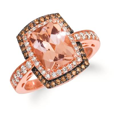 14K Strawberry Gold® Peach Morganite™ 2  1/4 cts. Ring with Vanilla Diamonds® 1/2 cts., Chocolate Diamonds® 1/5 cts. | WJEM 12