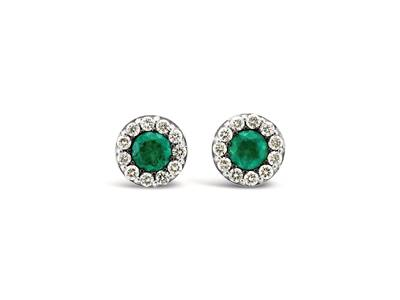 14K Vanilla Gold® Costa Smeralda Emeralds™ 3/8 cts. Earrings with Vanilla Diamonds® 1/4 cts. | WJEQ 44