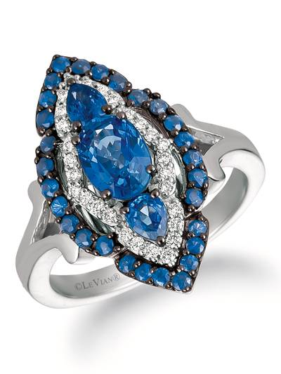 14K Vanilla Gold® Blueberry Sapphire™ 1  1/2 cts. Ring with Vanilla Diamonds® 1/6 cts. | WJEQ 5