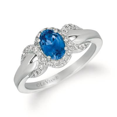 14K Vanilla Gold® Blueberry Sapphire™ 3/4 cts. Ring with Vanilla Diamonds® 1/5 cts. | WJEZ 32