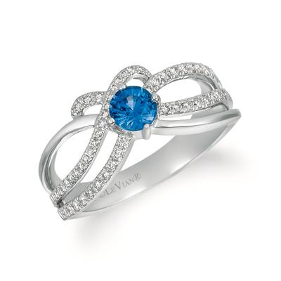14K Vanilla Gold® Cornflower Ceylon Sapphire™ 1/2 cts. Ring with Vanilla Diamonds® 1/4 cts. | WJEZ 56