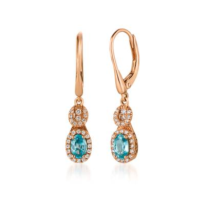 14K Strawberry Gold® Blueberry Zircon™ 1 cts. Earrings with Vanilla Diamonds® 1/4 cts. | WJEZ 77