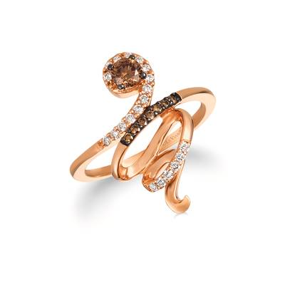 14K Strawberry Gold® Ring with Chocolate Diamonds® 1/3 cts., Vanilla Diamonds® 1/6 cts. | WJFC 11