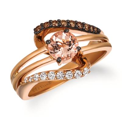 14K Strawberry Gold® Peach Morganite™ 1/2 cts. Ring with Vanilla Diamonds® 1/8 cts., Chocolate Diamonds® 1/6 cts. | WJFF 2