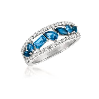 14K Vanilla Gold® Cornflower Ceylon Sapphire™ 3/4 cts., Blueberry Sapphire™ 1/3 cts. Ring with Vanilla Diamonds® 3/8 cts. | WJFH 7