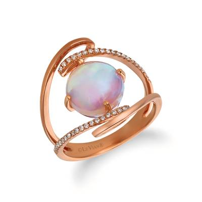 14K Strawberry Gold® Neopolitan Opal™ 1  7/8 cts. Ring with Vanilla Diamonds® 1/10 cts. | WJFI 28