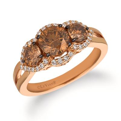 14K Strawberry Gold® Ring with Chocolate Diamonds® 1  3/4 cts., Vanilla Diamonds® 1/5 cts. | WJFI 61