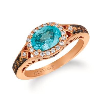 14K Strawberry Gold® Blueberry Zircon™ 1  1/3 cts. Ring with Chocolate Diamonds® 1/5 cts., Vanilla Diamonds® 1/6 cts. | WJFI 9