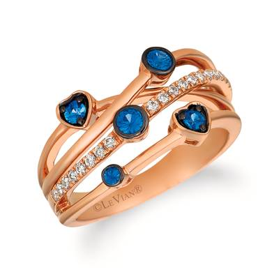 14K Strawberry Gold® Blueberry Sapphire™ 1/3 cts. Ring with Nude Diamonds 1/6 cts. | WJFJ 91