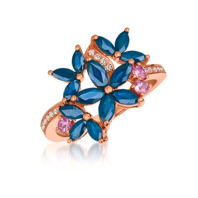 14K Strawberry Gold® Blueberry Sapphire™ 1  1/2 cts., Bubble Gum Pink Sapphire™ 1/6 cts. Ring with Vanilla Diamonds® 1/10 cts. | WJFK 78