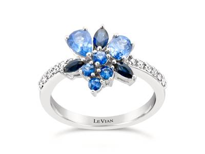 14K Vanilla Gold® Cornflower Ceylon Sapphire™ 5/8 cts., Blueberry Sapphire™ 1/2 cts. Ring with Vanilla Diamonds® 1/5 cts. | WJFL 25
