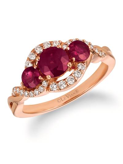 14K Strawberry Gold® Passion Ruby™ 1  1/3 cts. Ring with Vanilla Diamonds® 1/4 cts. | WJFM 2