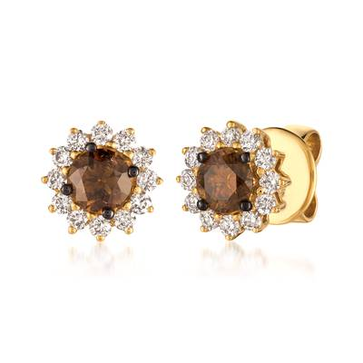 14K Honey Gold™ Earrings with Chocolate Diamonds® 1/2 cts., Vanilla Diamonds® 1/4 cts. | WJFM 27